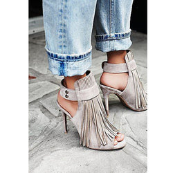 Gray Suede Fringe Peep Toe High Heel Sandals