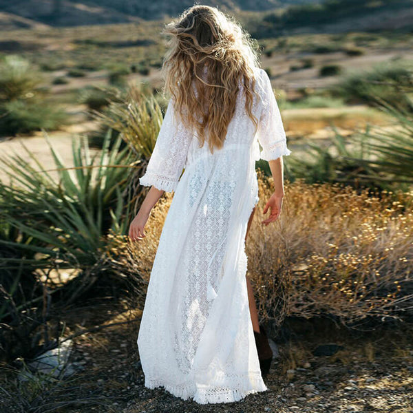 White Tie Waist Cover Up Maxi Dress