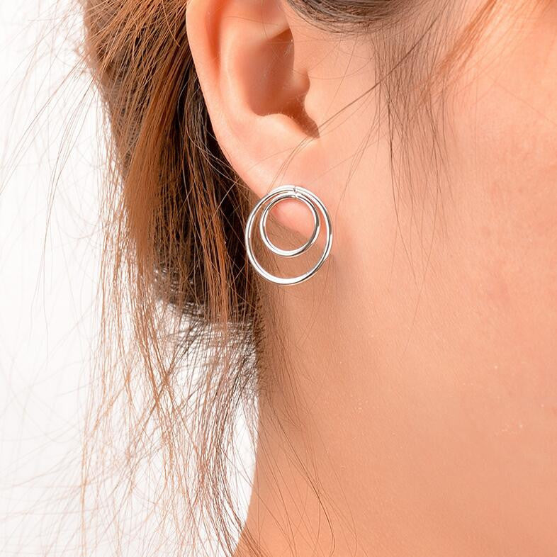 Personality Contracted Big Small Ring Earrings