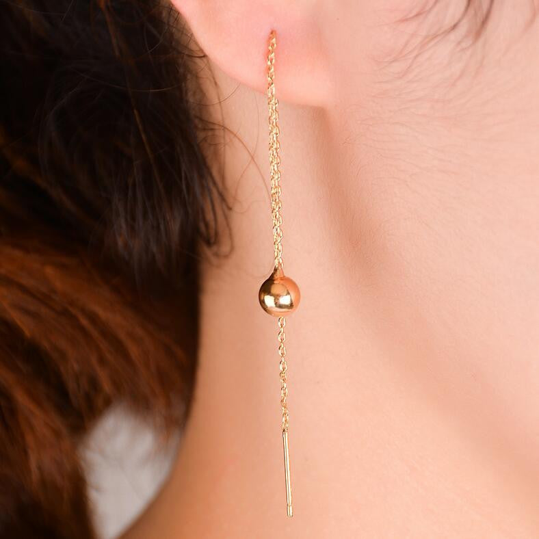 Simple Geometric Copper Pearl Tassel Earrings