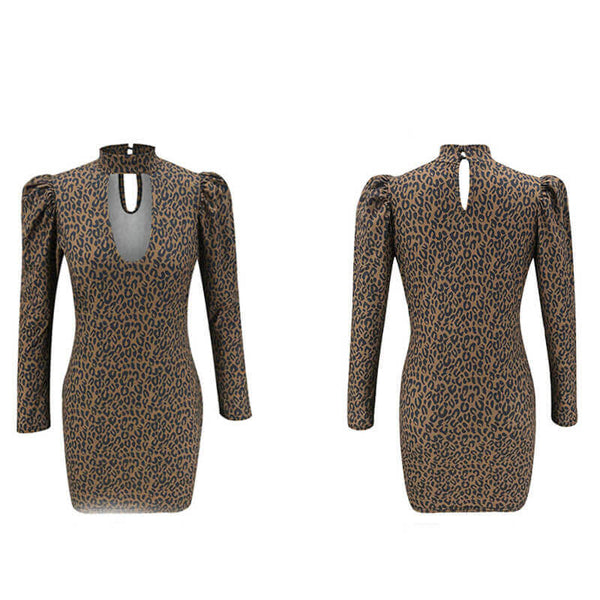 Puff Sleeve Leopard Bodycon Dress