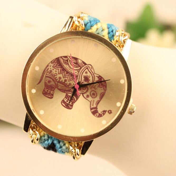 Wool Knitting Strap Elephant Print Watch