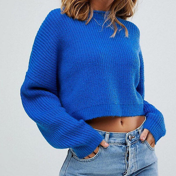 Fashion Roll Neck Cropped Sweater
