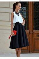 Loose Sleeves Crop Tope with Knee-length Pleated Skirt Two Pieces Dress Set