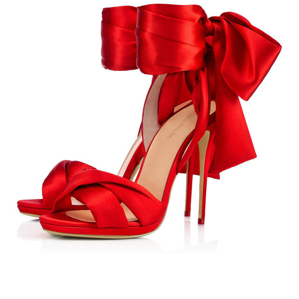 Strap High Heel Satin Open Toe Sandal