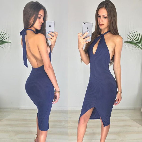 Backless V-neck Sleeveless Pure Color Dress - May Your Fashion - 2