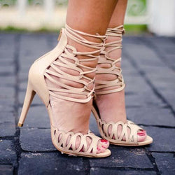Strap Lace Up Leather High Heel Sandals
