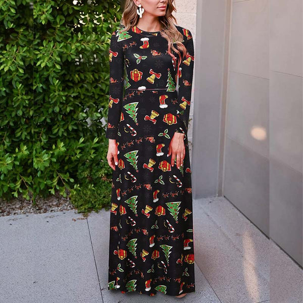 Christmas Long Sleeve Print Maxi Dress