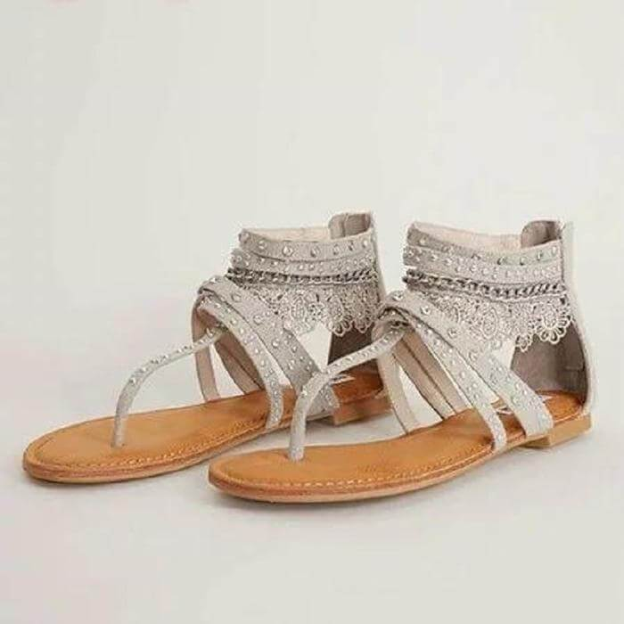 Wide Thong Flat Strappy Studded Sandal