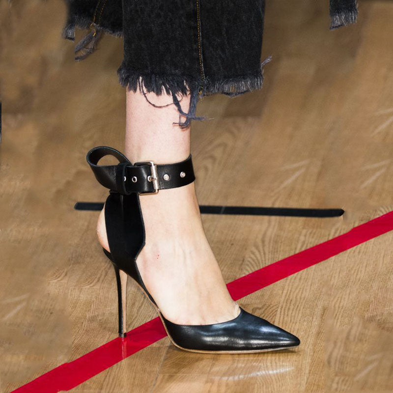 Black Leather Buckle Pointed Toe Sandals