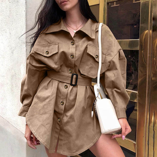 Khaki Trench Belt Coat Dress