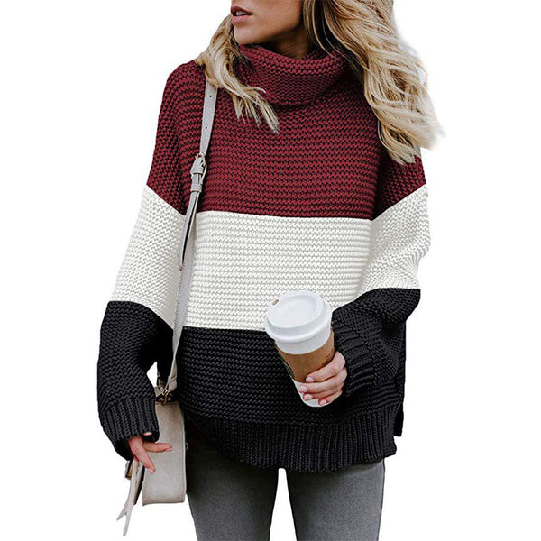 Turtleneck Colorblock Crochet Pullover Sweater