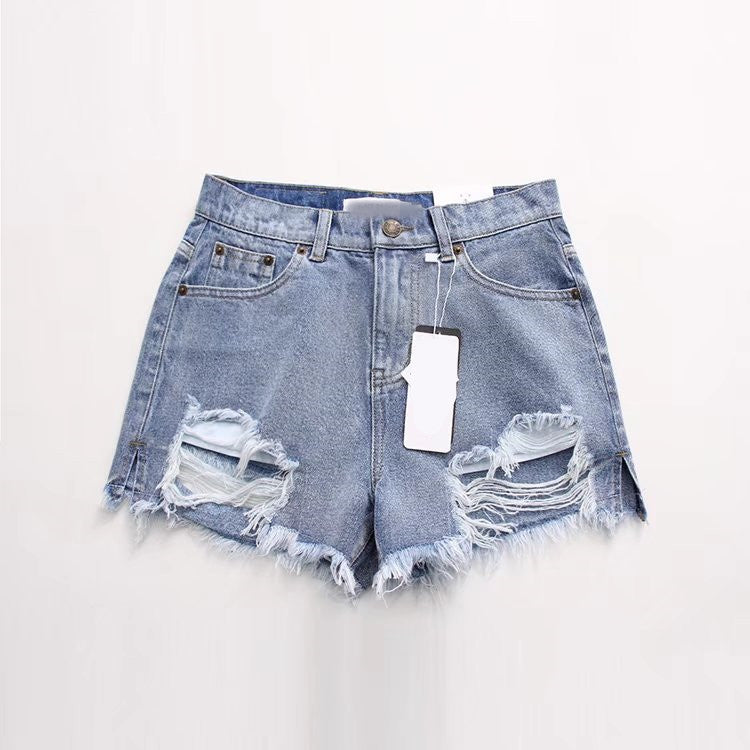 Pure Color Denim Tassels Hip Hole Slim Shorts