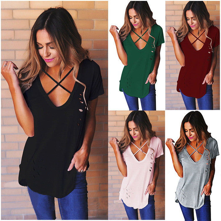 V-neck Candy Color Cut Out Short Sleeves T-shirt
