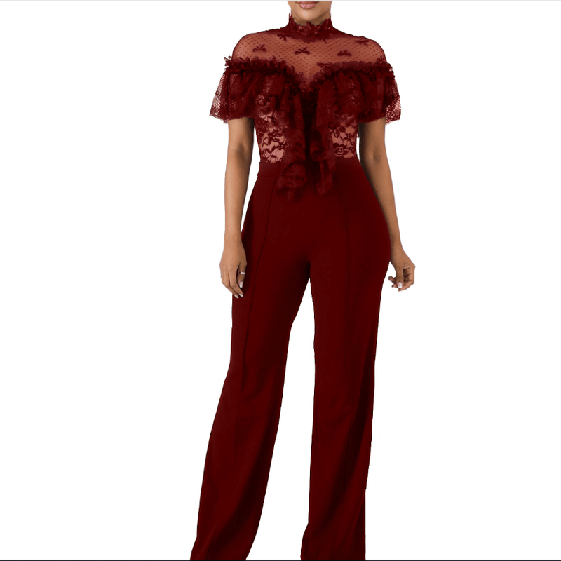 Lace See Through Ruffle Wide Leg Party Jumpsuit
