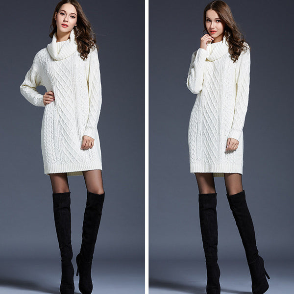 Long Sleeves High Neck Pure Color Long Sweater