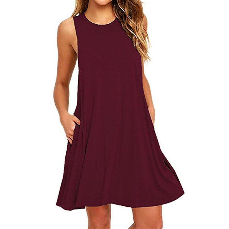 Spaghetti Straps Loose Sleeveless Pure Color Short Dress