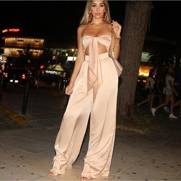 Bow Strapless Crop Top with High Waist Long Loose Wide-leg Pants Two Pieces Set Outfits