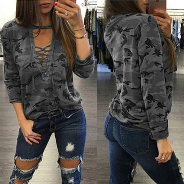 Camouflage Print Straps Cross Hollow Out Sweatshirt