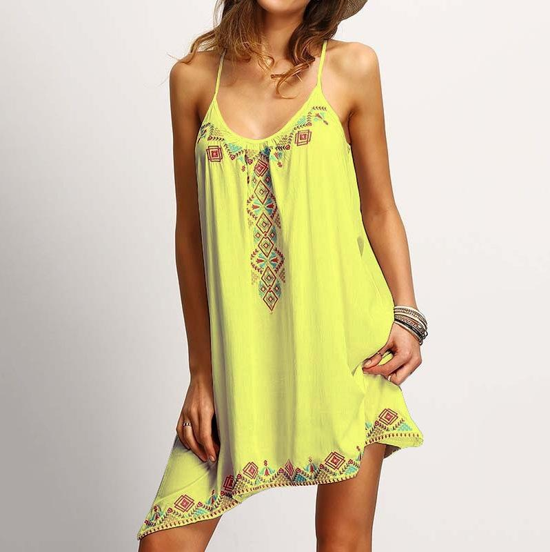 Sexy Spaghetti Strap Print Loose Short Dress