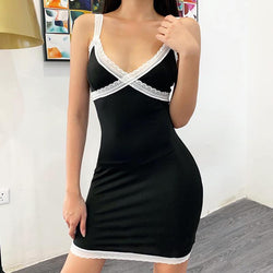 Patchwork Low Cut Bodycon Short Dress