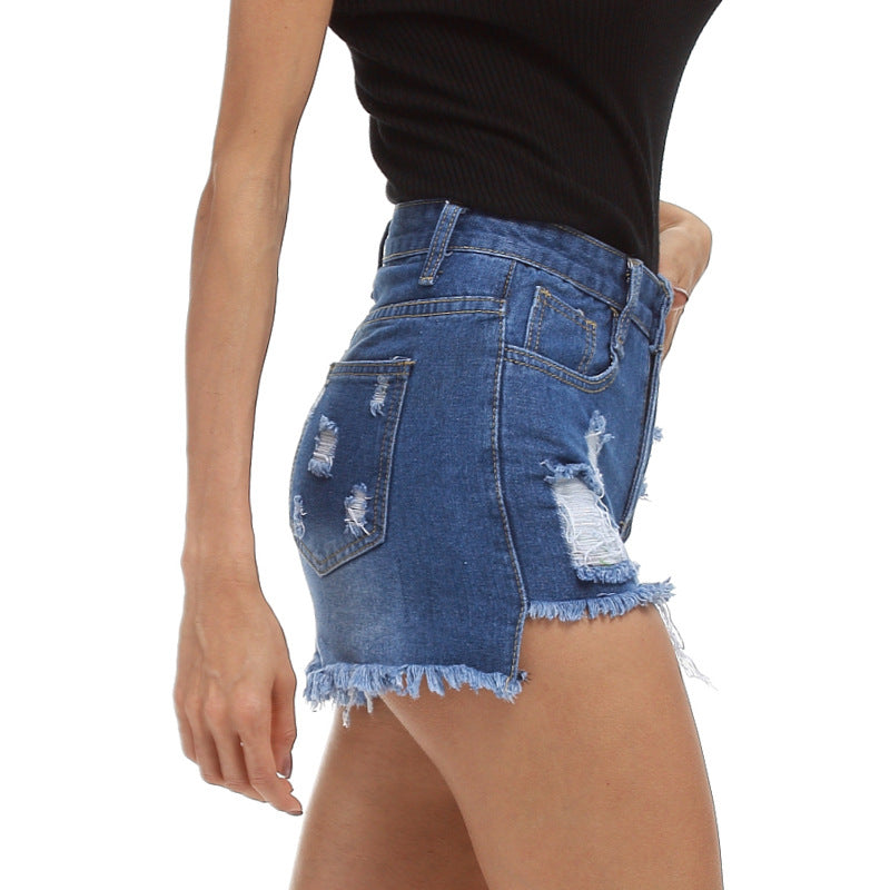 Hole Denim High Waist Tassel Slim Shorts