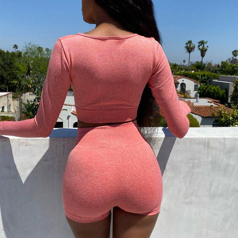 Yoga Plain Long Sleeve Bodycon High Waist Stretch Two Pieces Set