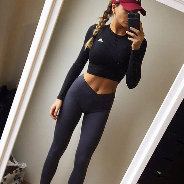 Solid Color Middle Waist Elastic Long Skinny Yoga Sports Pants Leggings