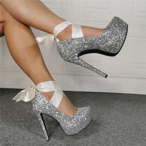 Silver Sequin Platform Strap High Heel Sandals