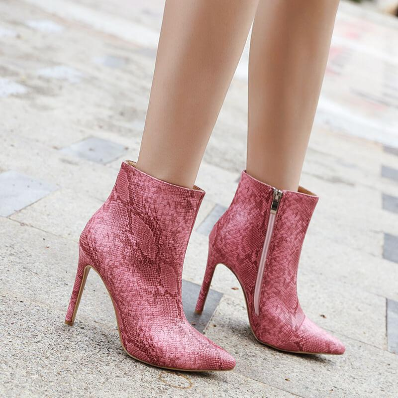 Snakeskin Leather Pointed Toe High Heel Booties