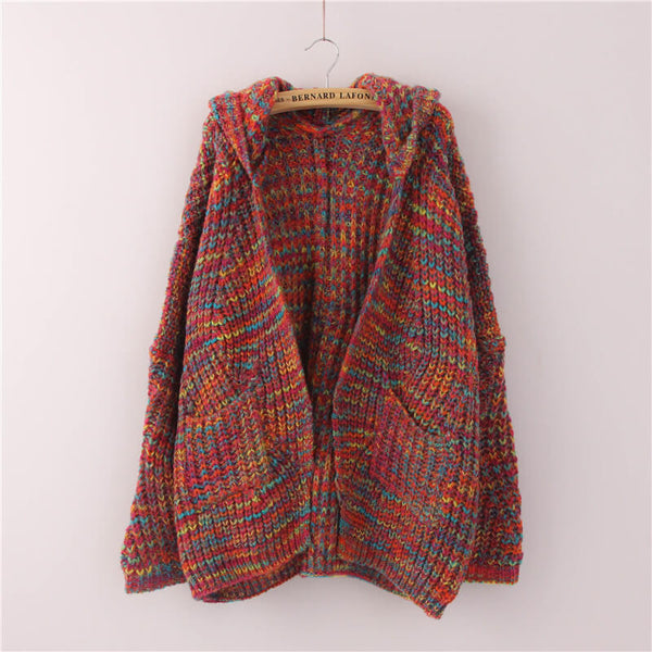 Oversized Hooded Colorful Knit Cardigan Sweater