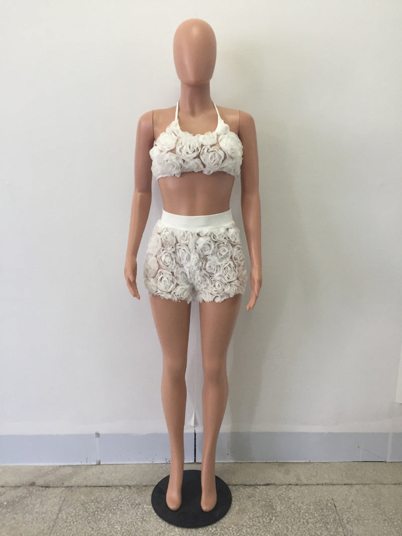 Spaghetti Straps V-neck Lace Crop Top with Patchwork Shorts Two Pieces Set