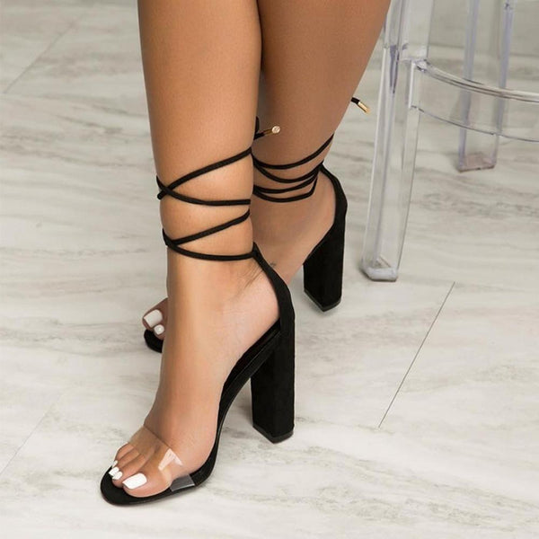 Free Shipping Clearence Ankle Lace Transparent Open Toe High Chunky Heels Sandals