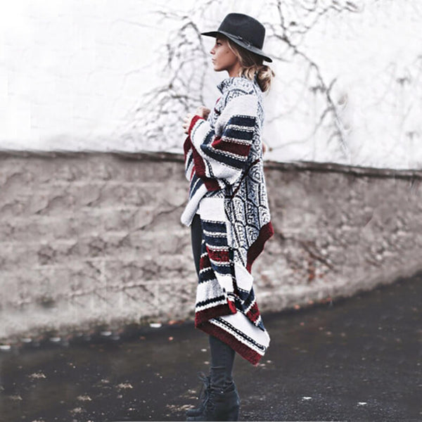 Printed Long Knit Cardigan Sweater