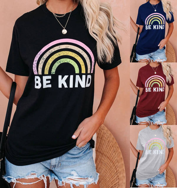 Casual Cotton Rainbow Print Loose T-shirts
