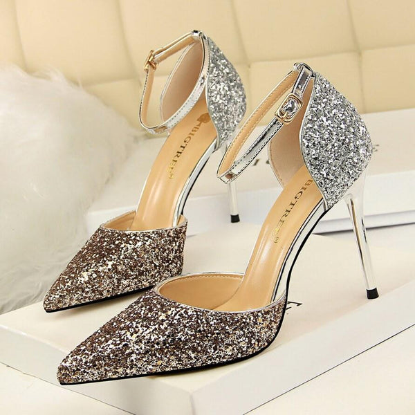 Glitter Buckle Point Toe High Heels