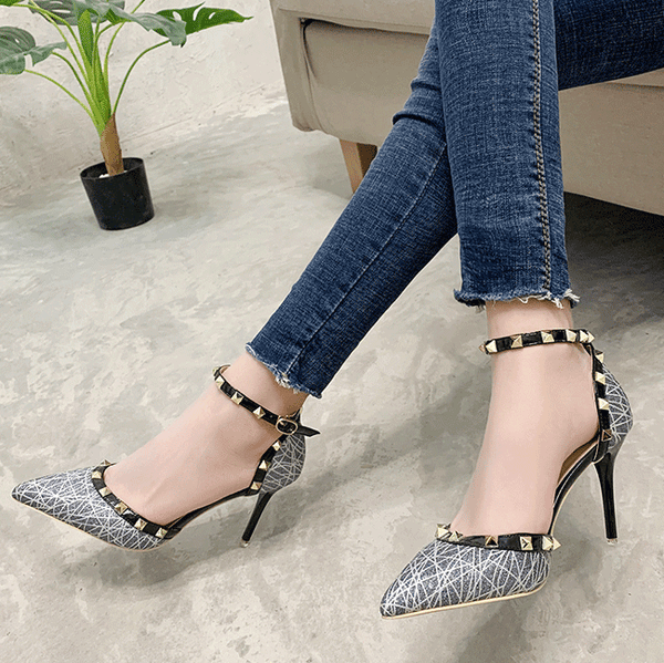 Sexy Point Toe Rivet Buckle High Heels