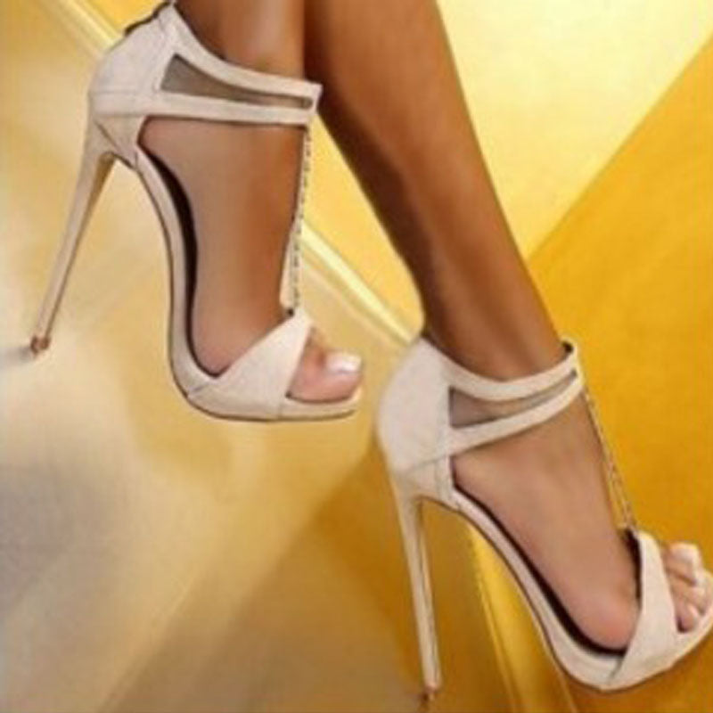 Sexy White Leather Open Toe High Heel Sandals