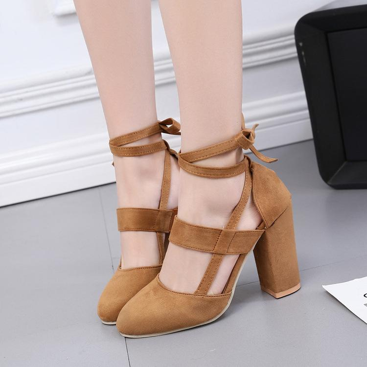 Suede Chunky Heel Pointed Toe Slipper Ankle Strap Sandals