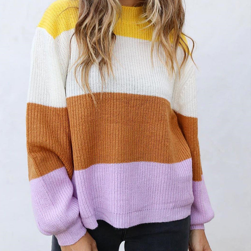 Crewneck Stripes Coloblock Pullover Sweater