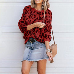 Dolman Sleeve Round Neck Patterned Loose Cropped Sweater