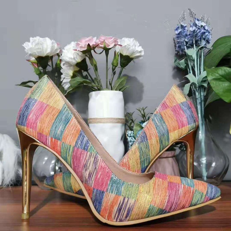 Color Block Plaid Pointed Toe Pumps