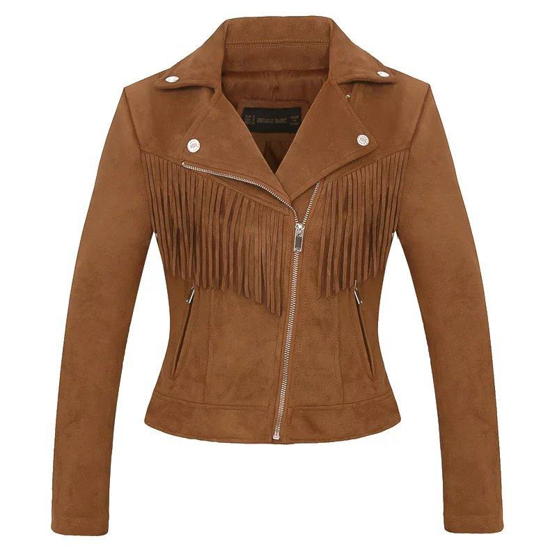 Lapel Tassels Oblique Zipper Women Slim Cropped Jacket