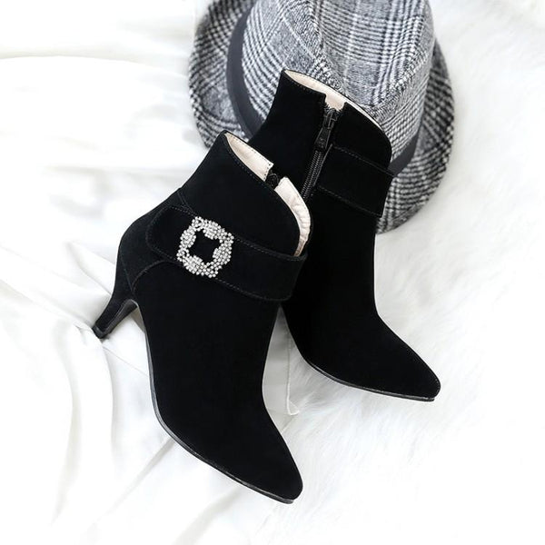Crystal Pointed Toe Middle Heel Short Boots