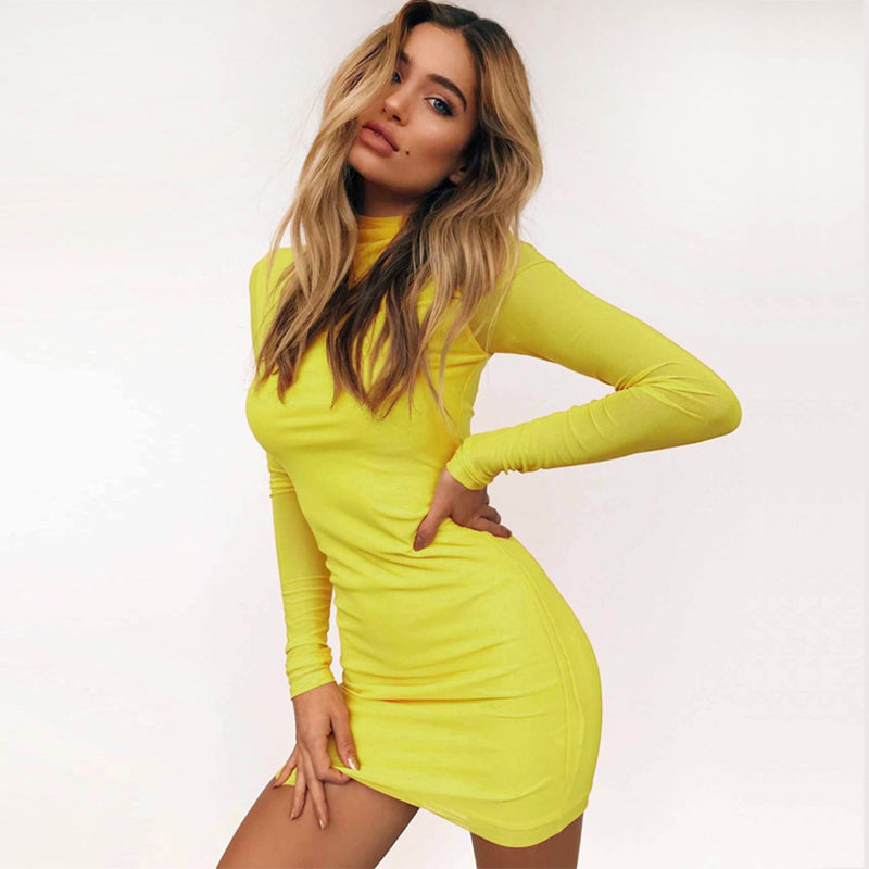 Solid Color High Neck Mesh Patchwork Slim Bodycon Women Short Dress