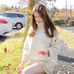 Pure Color High Neck Loose Pullover Sweater