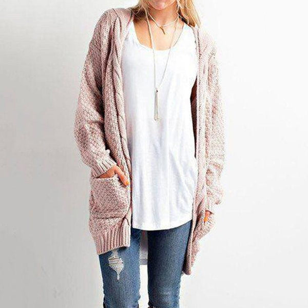 Pure Color Long Sleeves V-neck Long Cardigan