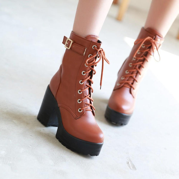 High Platform Lace Up Middle Chunky Heel Short Matin Boots