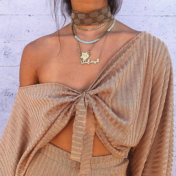 Pure Color Deep V-neck Cross Loose Crop Top