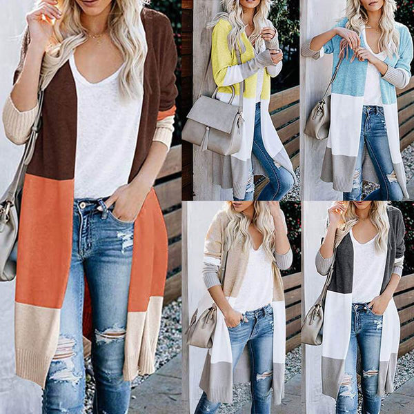 Colorblock Open Front Knitted Long Cardigan
